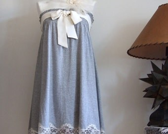 Lagenlook Convertible dress & skirt modern romantic summer dress, gray cotton jersey and cream lace, Mori girl dress, everyday dress