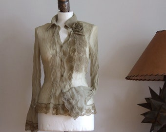 Blouse delicate  chiffon, boho shirt olive green, pleated front, long sleeves, lace border, summer fashion light blouse, urban romantic