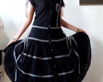 Romantic black dress,  black cotton dress with gray vintage lace, prairie girl ruffled dress, wedding in black dress, boho dress, mori girl