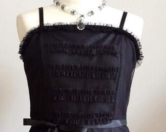Soft black tulle DRESS with ruffles and ribbons, black goth dress, boho dress, ruffled tulle dress, romantic black dress, festival dress