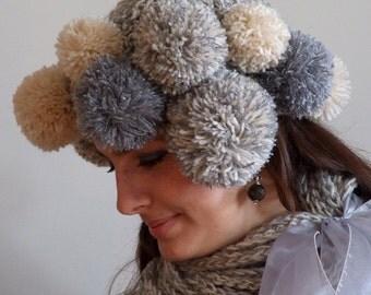 COUTURE POMPOM HAT avant garde modern chic -mediterranean marble- autumn couture