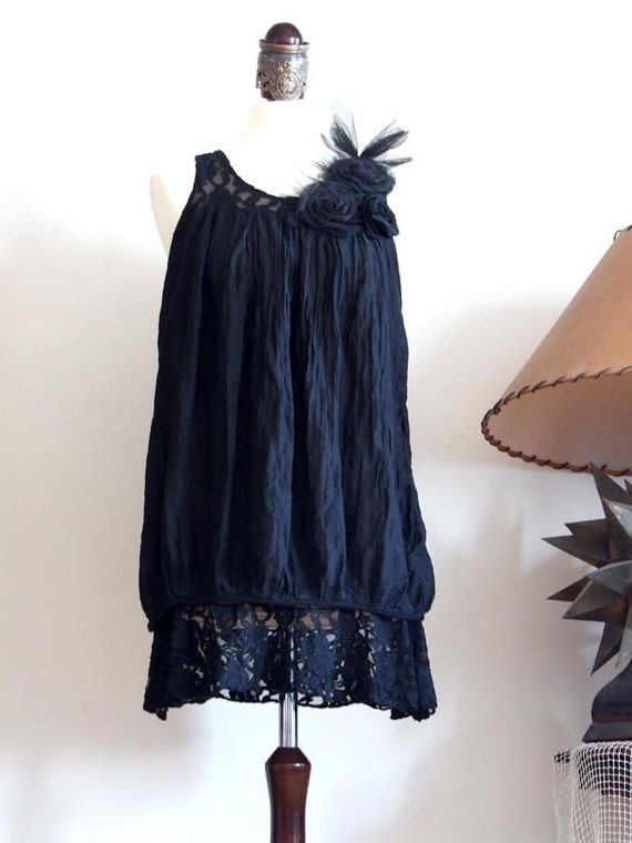 Avant garde romantic deep black TUNIC with lace yoke tulle and silk roses