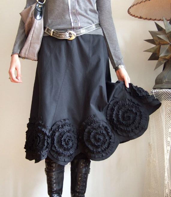 SKIRT WITH ROSETTES romantic deep black below knee length version