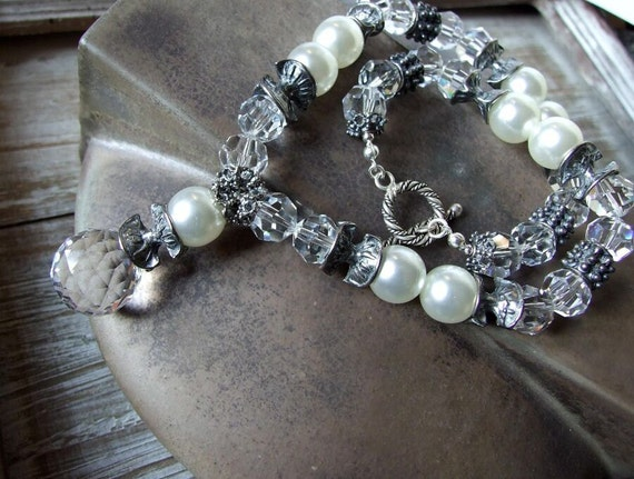 Boho wedding NECKLACE Czech clear crystals and pearls with sterling silver toggle, luxurious necklace & teardrop briolette