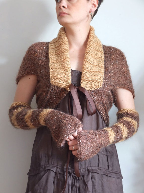 Shrug with arm warmers braided soft mohair in copper hand knitted modern urban spring fashion