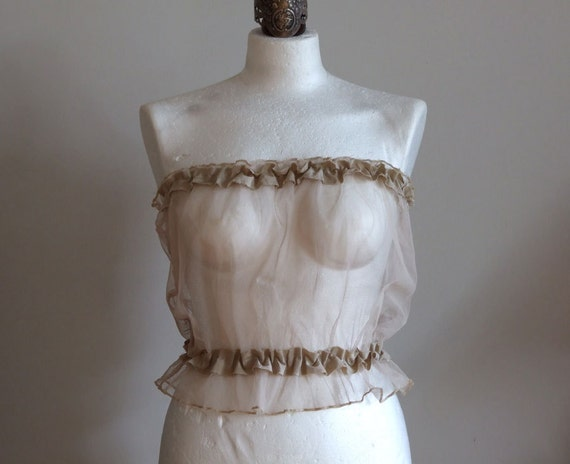 Coffee beige sheer camisole, neutral bridal bolero, wedding accessorie,  soft tulle with ruffle, fairy tale wedding, summer fashion