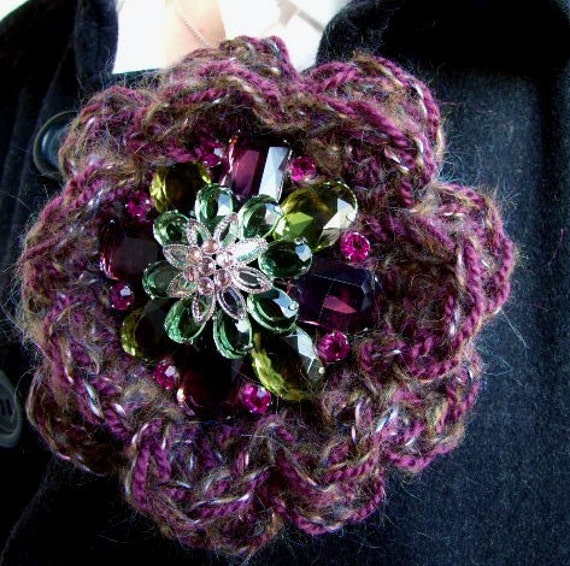 Flower brooch pin of sparckling gems in moss  and plum limited edition, Christmas gift under 50 dollars, READY TO SHIP, fall winter fashion