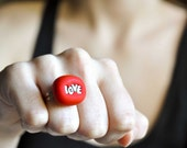 Red Love Ring Summer Bridesmaid Wedding Jewelry Perfect for Your Big Day in Bright Red Polymer Clay