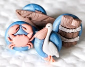CUSTOM RESERVED LISTING for mckay0606 - Seaside Nautical Boardwalk for Hair bows in Blue Polymer Clay Set of 4