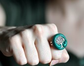 Tree of Life Ring in Deep Teal Blue Green Polymer Clay Great Gift for the Tree Hugger in Your Life