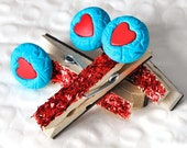 Red Heart Glitter Clip Magnets Back to School Gift Set in Turquoise Blue Polymer Clay Cute Locker Decoration. Set of 3