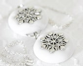 Snowflake Necklace Jewelry White Handmade Double Charms 925 Sterling Silver Chain in Winter Glitter Polymer Clay