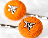 Nectarine Orange Dragonfly Bobby Pins Hair Accessory for Teens, Brides, Spring and Summer Birthday Girls in Polymer Clay