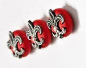 Fleur De Lis Magnets French Mardi Gras Decor Antiqued Silver in Ruby Red Polymer Clay Gift Set of 3 for Men or Women