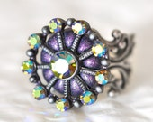 New Years 2012 Cocktail Ring Rainbow Crystals Fashion Jewelry in Glamorous Shimmering Purple Metallic Polymer Clay Great for New Years Eve