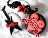 Rock and Roll Music Magnets in Red with Black and White Polymer Clay Unisex for Men or Women School, Home, or Office