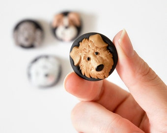 Dog Lover's Magnets Puppy Play in Black Polymer Clay Gift Set of 4 for Baby Nursery,  Kid's Bedroom, Office, or School Decoration