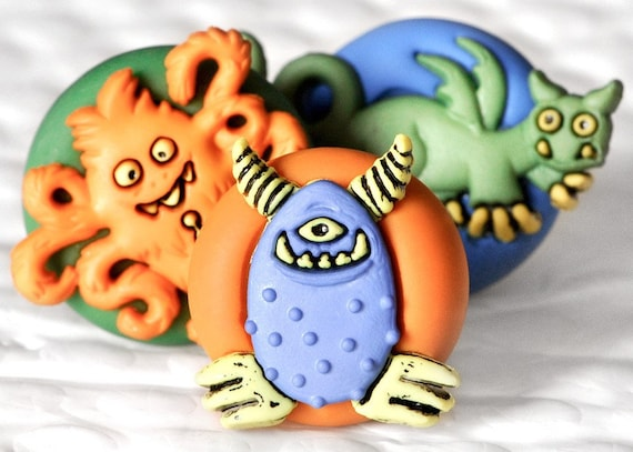 Children's Monster Magnets in Bright Colorful Summer Polymer Clay for the Office, Kids Easter Baskets, School, or Home Play Room Decor