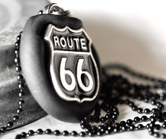 Route 66 Necklace Family Road Trip Travel Nostalgic Memories of the Midwest Jewelry in Black Polymer Clay