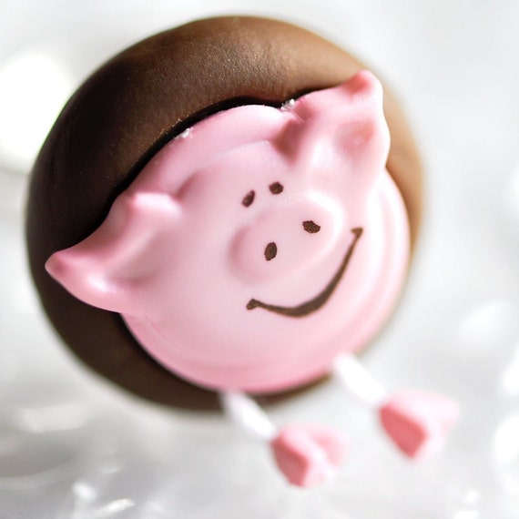 Pig Button Ring Smiling Pink Farm Animal Summer Jewelry in Brown Polymer Clay