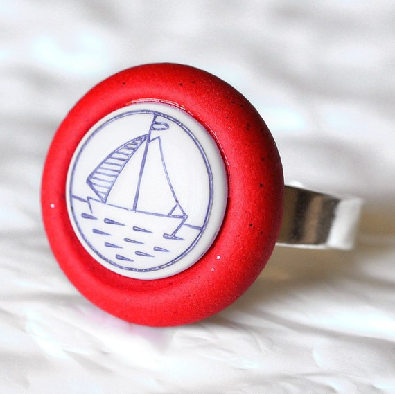 Nautical Summer Sailing Ring Sail Boat Button Jewelry in Glittering Ruby Red Polymer Clay