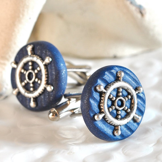 Cufflinks Ship's Helm Nautical Themed Weddings for Men, Your Sailor or Groomsmen in Textured Navy Blue Polymer Clay