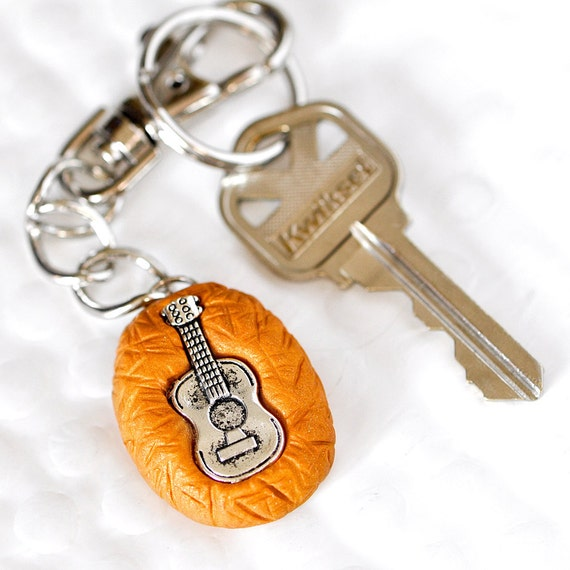 Ukulele Key Chain in Golden Orange Polymer Clay Swivel Hook Perfect Summer Gift for the Music Lover in Your Life