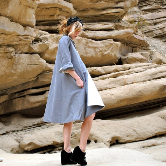 Grey Coat Dress from Organic cotton and hemp