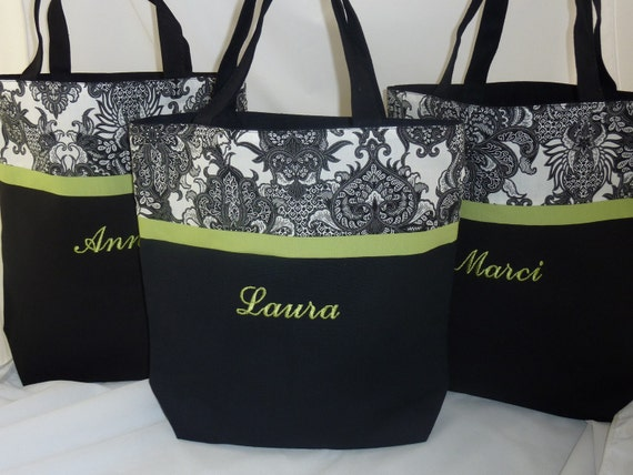 Damask Tote Personalized Black and White