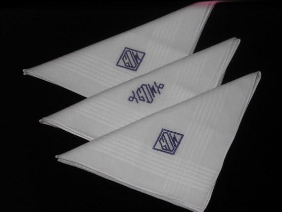 Monogrammed  Handkerchiefs Men   Set of 3