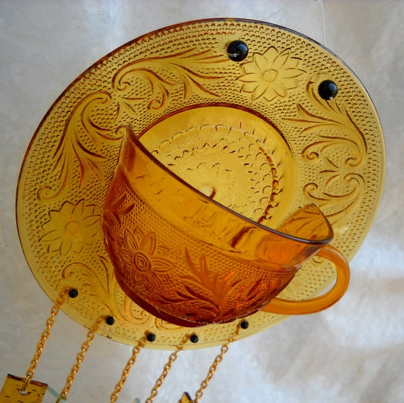 Amber Tiara Sandwich Glass Wind chime -- Vintage Teacup and Saucer
