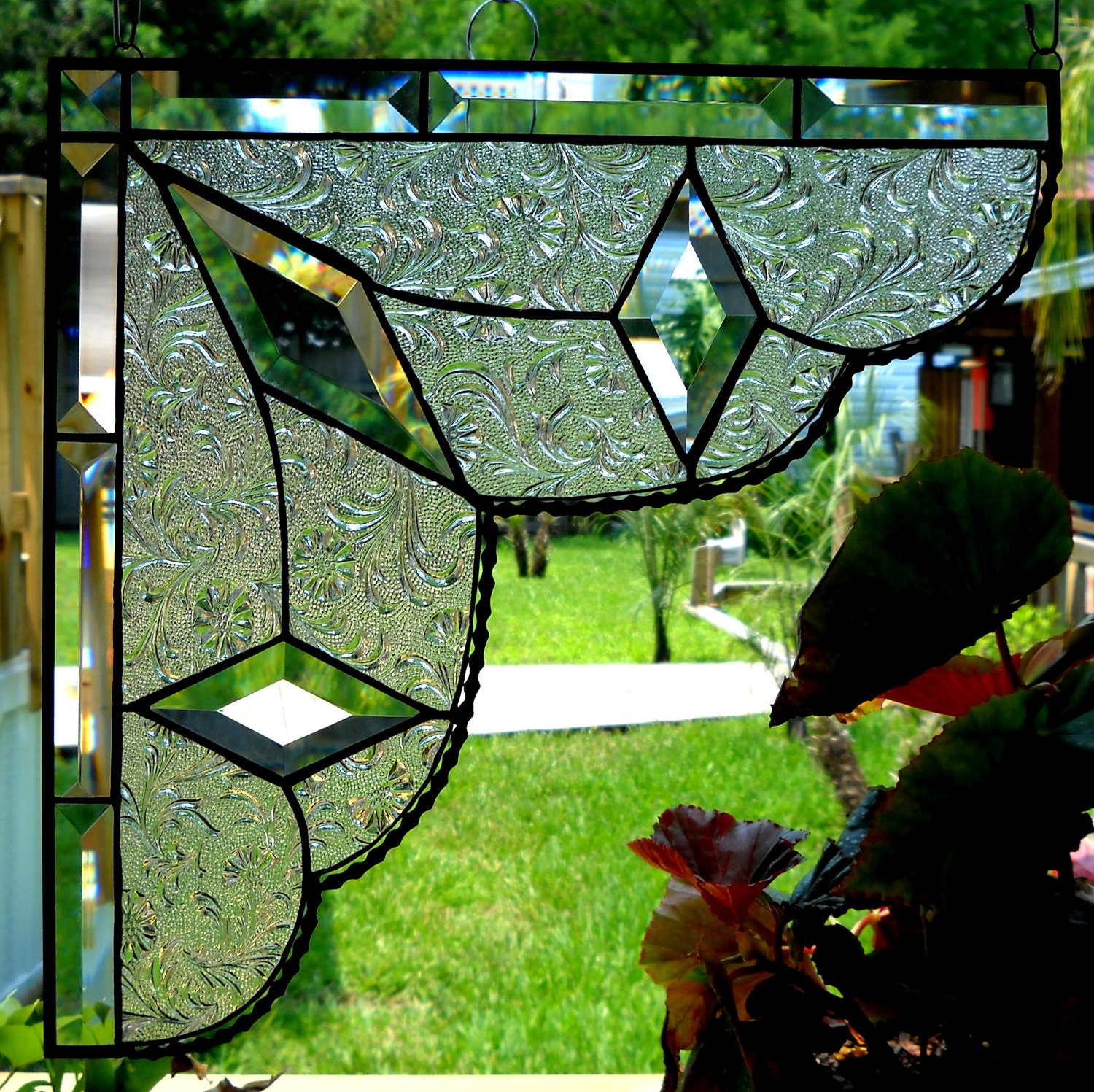 stained glass lace curtain pair gingerbread trim corners or. Black Bedroom Furniture Sets. Home Design Ideas