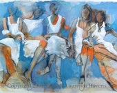 """Fine Art Print - Women in White Dresses with Turquoise -  """"It's Not About You"""""""