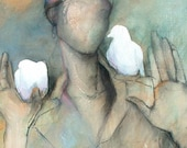 Woman with Two White Doves - Tranquility, Spirit, Peace - Open Edition Fine Art Print