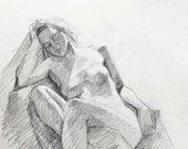Figure Drawing - Original Graphite Sketch Nude Female Model with Dreads