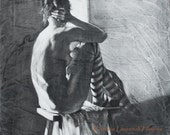 """Figure Art in Black and White, Woman wearing Striped Tights - """"The Center Ring"""" Large Print - Fine Art Reproduction"""