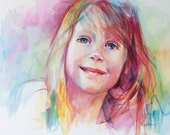 Unique Custom Portrait Based on Your Photo in Bright, Colorful Watercolor