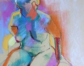Abstract Pastel Drawing from the Live Model Original Art of the Nude Figure