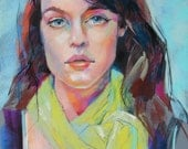 Original Pastel Portrait - The Lime Green Scarf - Inspired by Etsy Series -