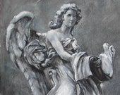 Original Fine Art Painting - Italian Angel Sculpture - Angel of Compassion