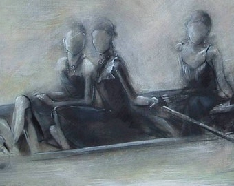 Enchanting Women in a Boat - Greys, Silvers and Greens - Archival Print