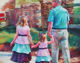 Custom Family Portrait in Pastel from Your Photograph