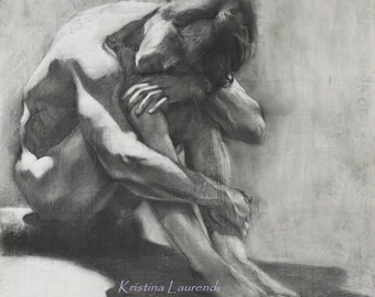 Charcoal Drawing of Male Figure in Shadow, Fine Art Reproduction