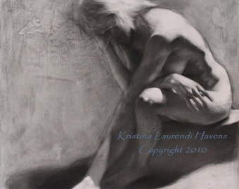 Charcoal Drawing of the Female Figure - Immersed - Fine Art Print