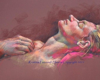 Figure Drawing, Reclining Female Profile on Cranberry Paper, Pastel Original Art