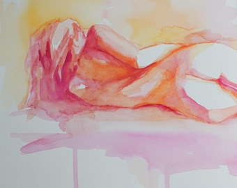 Fine Art Print of a  Watercolor Figure Nude Reclining Female in Citrus Colors