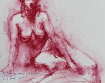 Watercolor Life Drawing of Nude in Dark Red Original Art Painting