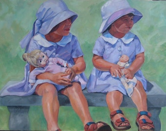Custom Oil Portrait Sample , Sisters Wearing their Sunday Best in Lilac and Green