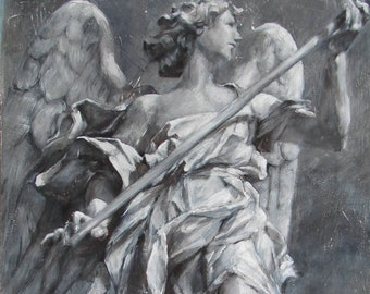 Angel of Hope - Large Original Fine Art Painting of an Italian Sculpture
