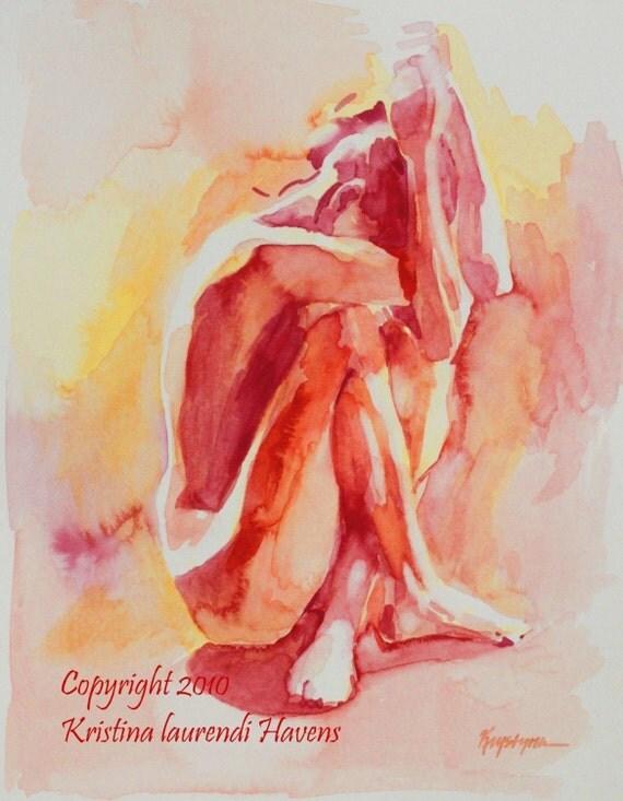 Hiding Figure Intense Reds and Orange - Fine Art Print